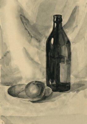 Quadro Natura morta con una bottiglia e una mela, acquarello