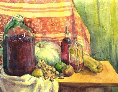 Quadro Natura morta con vino, frutta e verdura. pittura ad acquerello