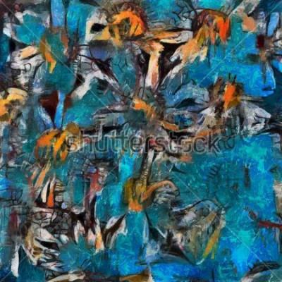 Quadro Natura morta e bouquet di margherite in un vaso blu. Espressione di pastosa espressiva. Olio su tela con elementi di pittura pastello in uno stili contemporaneo.