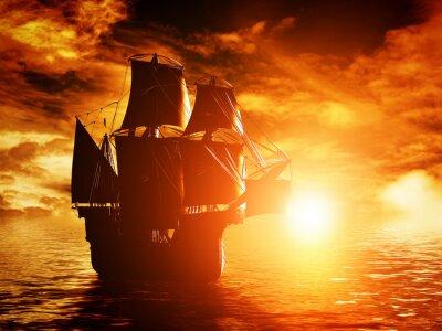 Quadro Nave di antico pirata vela sul mare al tramonto