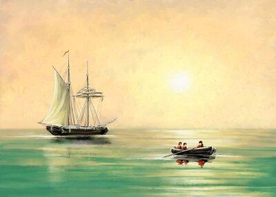 Quadro Nave e barca, paesaggio marino, dipinti a olio digitale