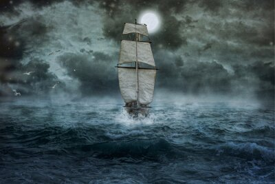 Quadro Nave, mare, oceano, blu, nuvole, acqua, vela, tempesta