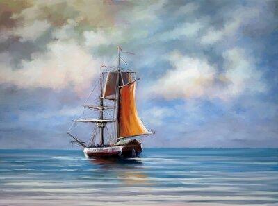 Quadro Nave, mare. Paesaggio. Pittura digitale a olio.