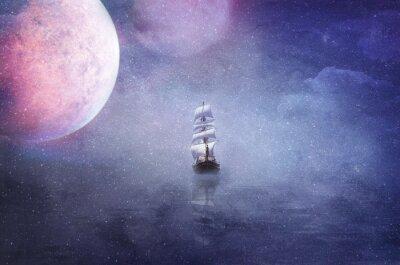 Quadro nave nel vastità dell'universo sfondo illustrazione
