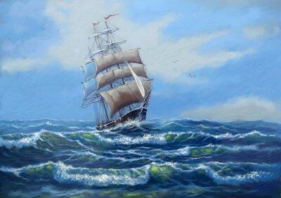 Quadro Nave, paesaggio dipinto ad olio di mare, art