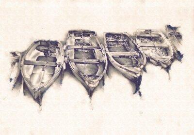 Quadro Nave sul mare o arte dell'oceano illustrazione