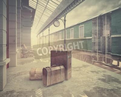 Quadro nebbia sul retro stazione ferroviaria concetto 3D stile di colore .Vintage