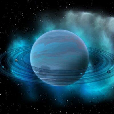 Quadro Neptune Planet - Nettuno è l'ottavo pianeta del nostro sistema solare e ha anelli planetari e una grande macchia scura che indica una tempesta sulla sua superficie.