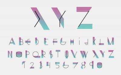 Quadro Nero caratteri alfabetici e numeri con linee di colore. Illustrazione vettoriale.