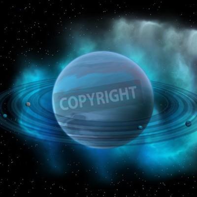 Quadro Nettuno è l'ottavo pianeta del nostro sistema solare e ha anelli planetari e una grande macchia scura che indica una tempesta sulla sua superficie.