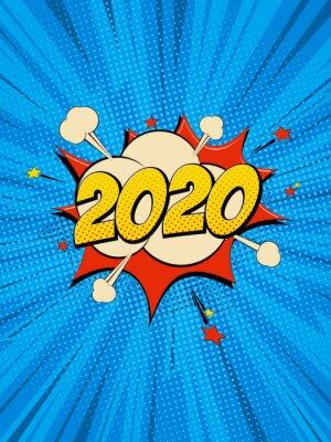 Quadro New Year 2020 pop art comic background lightning blast halftone dots.