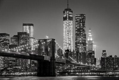 Quadro New York by night. Brooklyn Bridge, Lower Manhattan – Black an