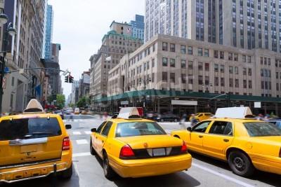 Quadro New York city Manhattan Fifth Avenue 5th Av yellow taxi cab US