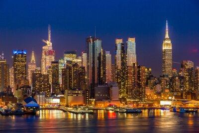 Quadro New York City Manhattan midtown buildings skyline night