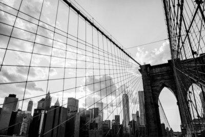 Quadro New York, Ponte di Brooklyn orizzonte bianco e nero