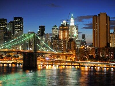 Quadro New York Ponte di Manhattan dopo il tramonto