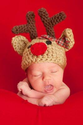 Quadro Newborn baby indossa un cappello di renna dal naso rosso