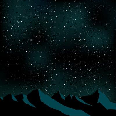 Quadro Night sky stars, mountain landscape, vector illustration