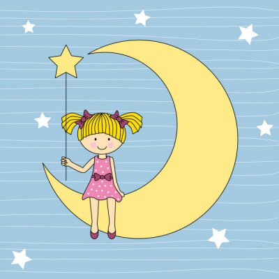 Quadro Niña en la luna sentada