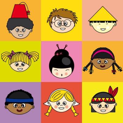 Quadro Niños de diferentes etnie