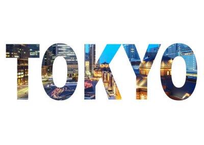 Quadro Nome Tokyo City segno con la foto in background. Isolato su sfondo bianco ..
