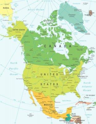 Quadro Nord America map - altamente dettagliata illustrazione vettoriale.