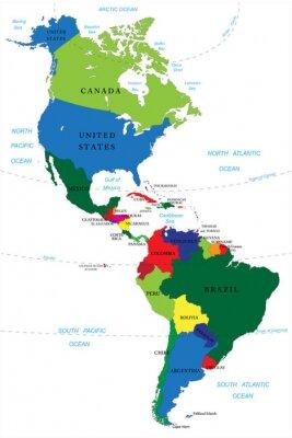 Quadro Nord e Sud America cartina