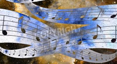 Quadro nota musicale e lo spazio e le stelle con colore di sfondo abstrtact