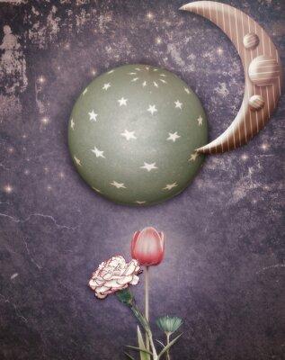 Quadro Notte stellata con la luna e fiori di primavera