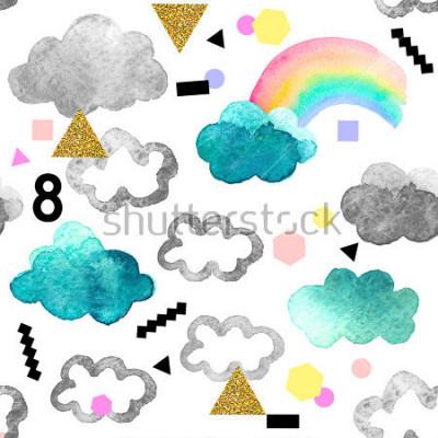 Quadro Nuvole acquerello carino con elementi glitter arcobaleno e oro. Modello senza cuciture con gli oggetti dell'acquerello isolati su fondo bianco per il vostro disegno: tessuto, tessuto, cartolina.