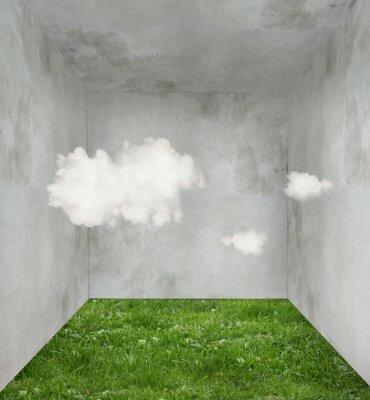 Quadro Nuvole e erba in una stanza