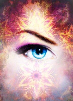 Quadro Occhio della donna e mandala, astratto colore di sfondo e il deserto crackle.