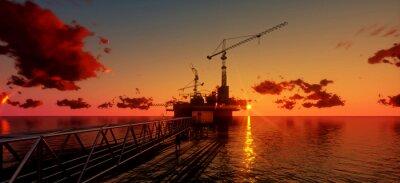 Quadro Offshore oil rig e piattaforma al momento del tramonto. Costruzione del processo di produzione in mare. Energia potere del world..3d render