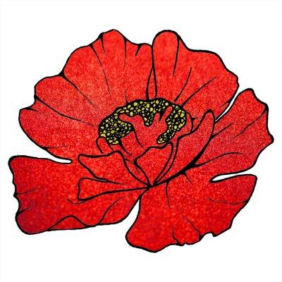 Quadro Offuscata rosso scarlatto papavero texture di sfondo scintillio fiore