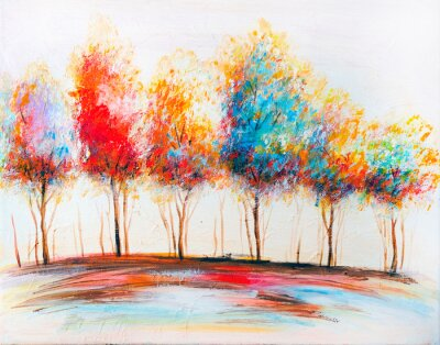 Quadro Oil painting landscape, abstract colorful gold trees