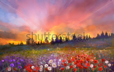 Quadro Oil painting poppy, dandelion, daisy flowers in fields. Sunset meadow landscape with wildflower, hill, sky in orange and blue violet color background. Hand Paint summer floral Impressionist style