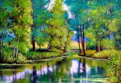 Quadro Oil paintings landscape, autumn landscape with trees and lake