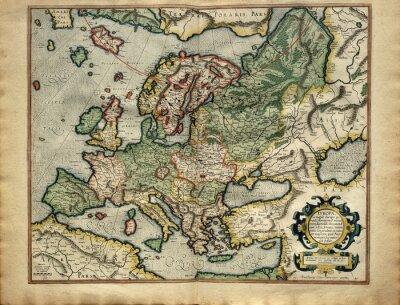 Quadro Old mappa d'Europa, stampata nel 1587 da Mercator