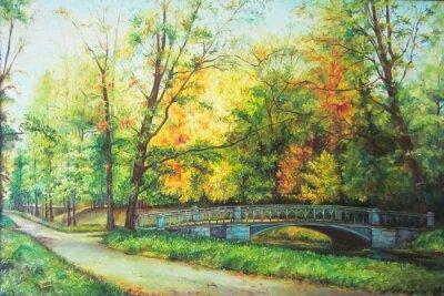 Quadro Olio dipinto originale Il ponte nella foresta