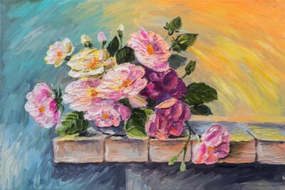 Quadro Olio su tela - ancora fiori di vita sul tavolo
