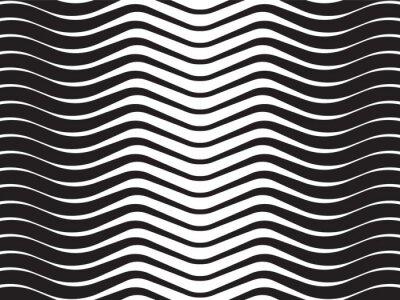 Quadro onda ottica a strisce astratto sfondo bianco e nero