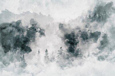 Quadro Opera d'arte astratta che mostra una foresta oscura con alberi di betulla. Media misti