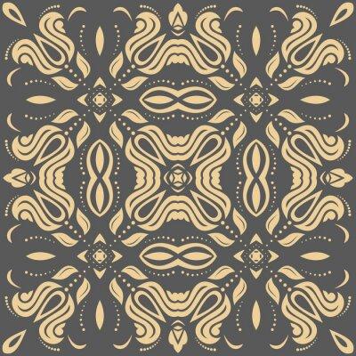 Quadro Oriental modello dorato con arabeschi e elementi floreali. ornamento classico tradizionale