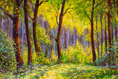 Quadro Original oil painting, contemporary style, made on stretched canvas Sunny Park forest wood - green trees in the sunlight