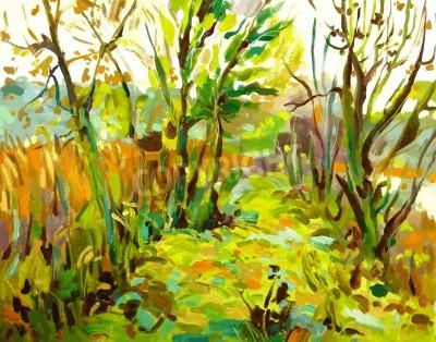 Quadro Original oil painting landscape with tree