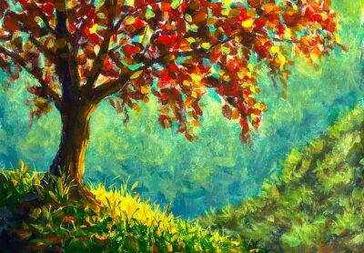 Quadro Original oil painting on canvas. Autumn tree on sunny mountain side landscape. Modern art.