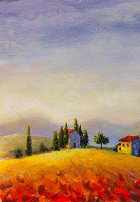 Quadro Original oil painting on canvas beautiful sunset in Tuscany artwork; Italy landscape Modern art illustration.