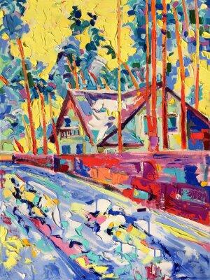 Quadro originale dipinto a olio su tela di villaggio paesaggio invernale