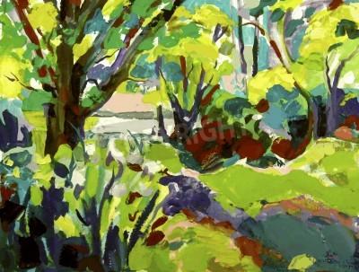 Quadro Originale paesaggio pittura ad olio con albero