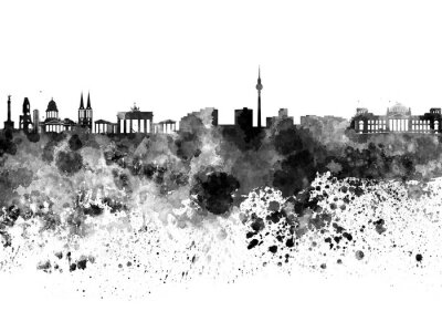 Quadro Orizzonte di Berlino in acquerello nero
